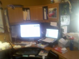 """messy desk"